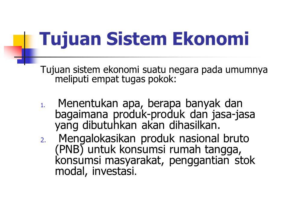 Tujuan Sistem Ekonomi Tujuan sistem ekonomi suatu negara pada umumnya meliputi empat tugas pokok: 1. Menentukan apa, berapa banyak dan bagaimana produ