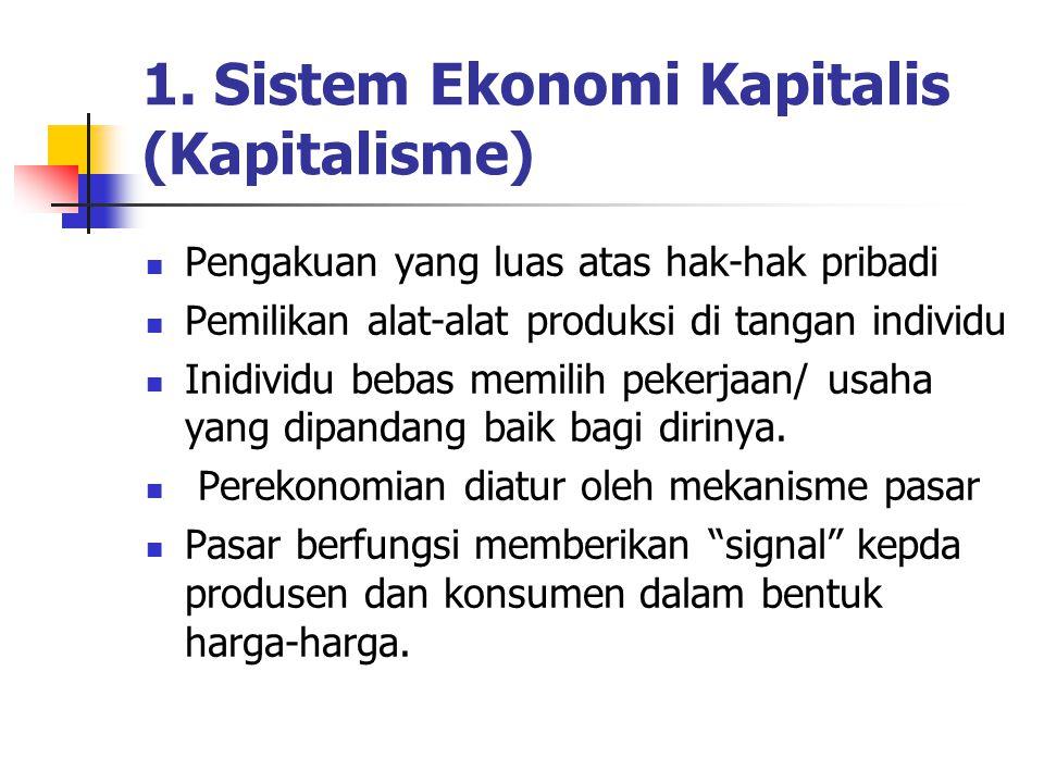 1. Sistem Ekonomi Kapitalis (Kapitalisme) Pengakuan yang luas atas hak-hak pribadi Pemilikan alat-alat produksi di tangan individu Inidividu bebas mem