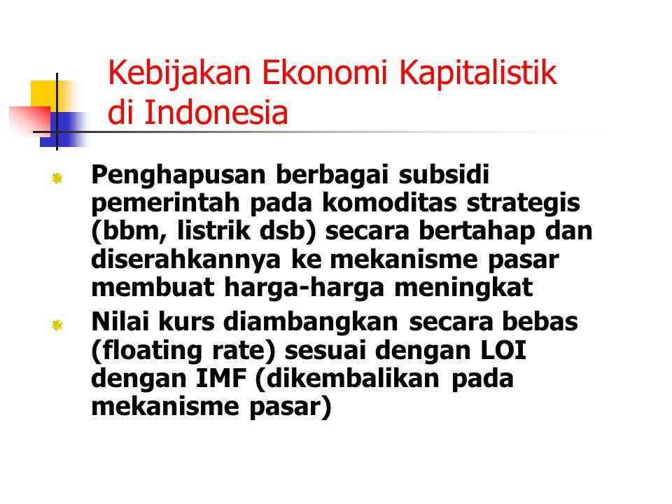 Kebijakan Ekonomi Kapitalistik di Indonesia Penghapusan berbagai subsidi pemerintah pada komoditas strategis (bbm, listrik dsb) secara bertahap dan di