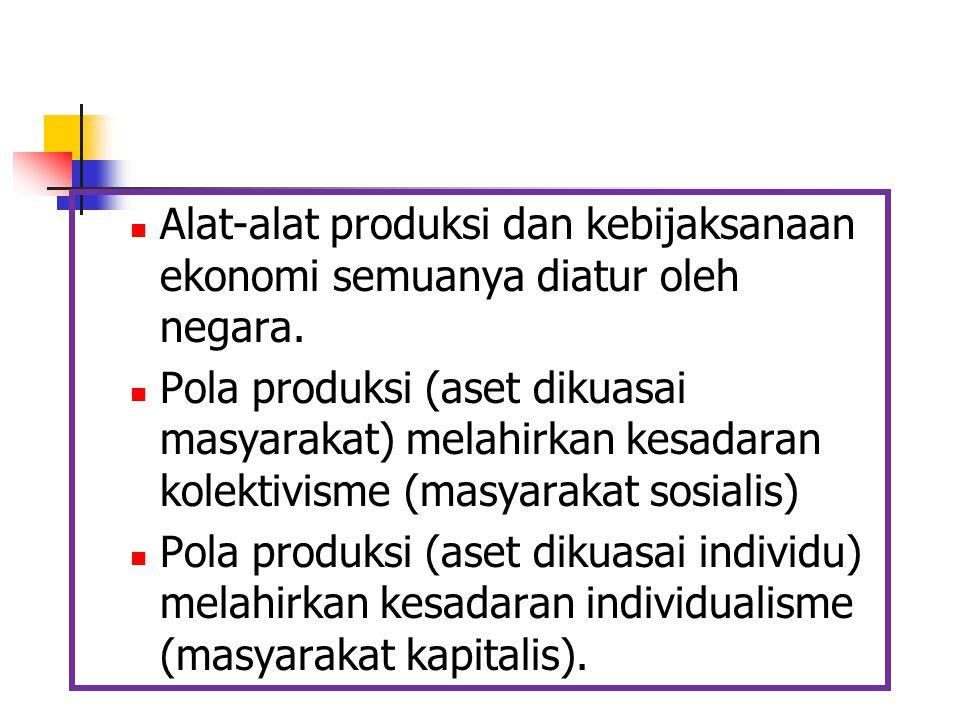 Alat-alat produksi dan kebijaksanaan ekonomi semuanya diatur oleh negara. Pola produksi (aset dikuasai masyarakat) melahirkan kesadaran kolektivisme (