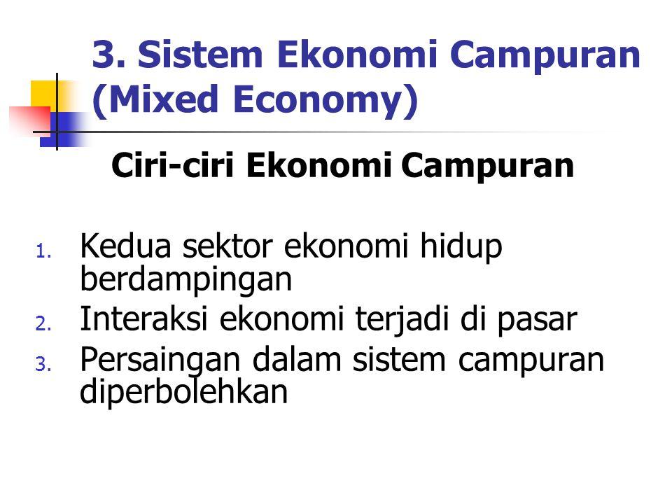 3. Sistem Ekonomi Campuran (Mixed Economy) Ciri-ciri Ekonomi Campuran 1. Kedua sektor ekonomi hidup berdampingan 2. Interaksi ekonomi terjadi di pasar