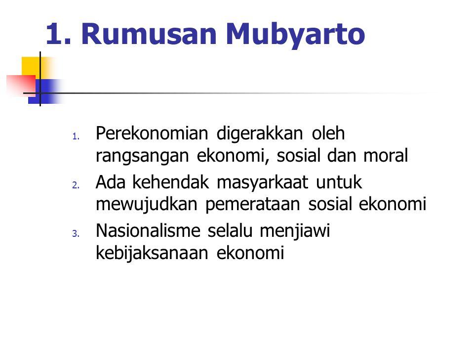 1. Rumusan Mubyarto 1. Perekonomian digerakkan oleh rangsangan ekonomi, sosial dan moral 2. Ada kehendak masyarkaat untuk mewujudkan pemerataan sosial