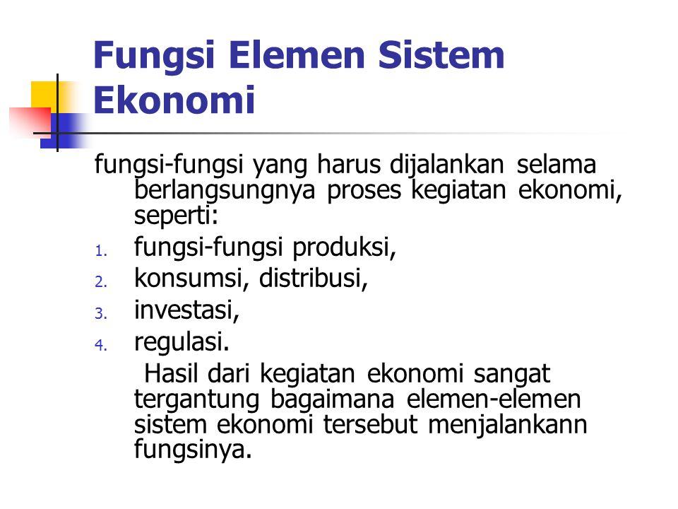 Fungsi Elemen Sistem Ekonomi fungsi-fungsi yang harus dijalankan selama berlangsungnya proses kegiatan ekonomi, seperti: 1. fungsi-fungsi produksi, 2.