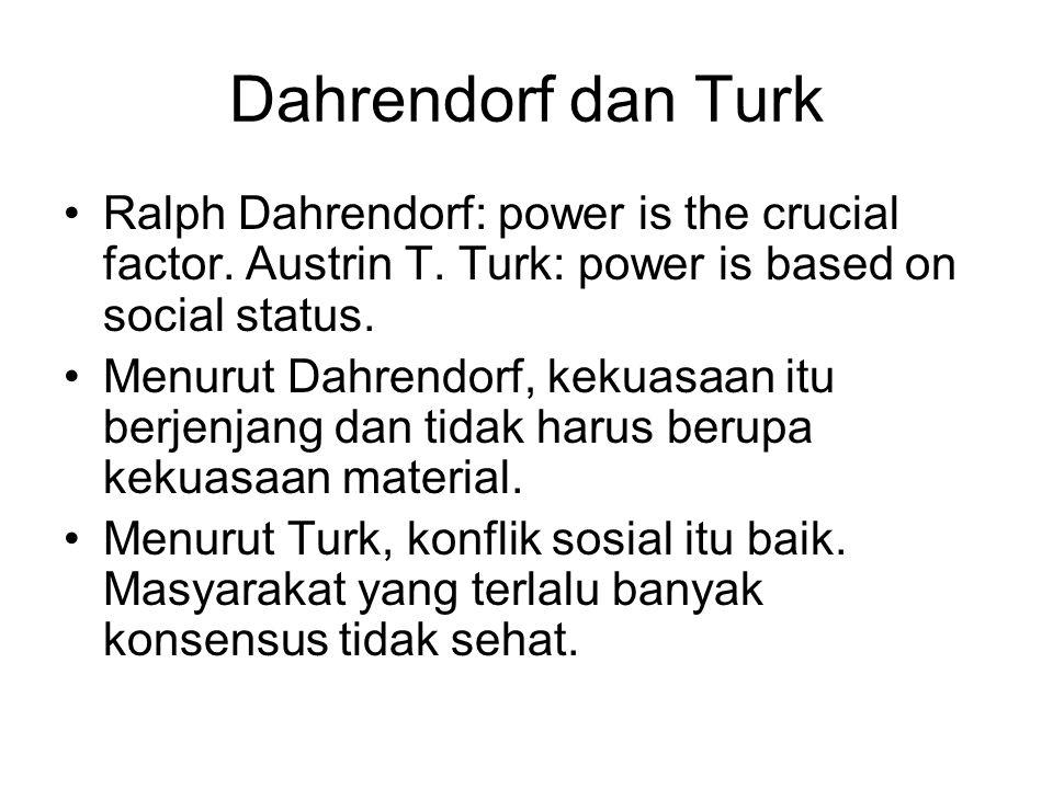 Dahrendorf dan Turk Ralph Dahrendorf: power is the crucial factor. Austrin T. Turk: power is based on social status. Menurut Dahrendorf, kekuasaan itu
