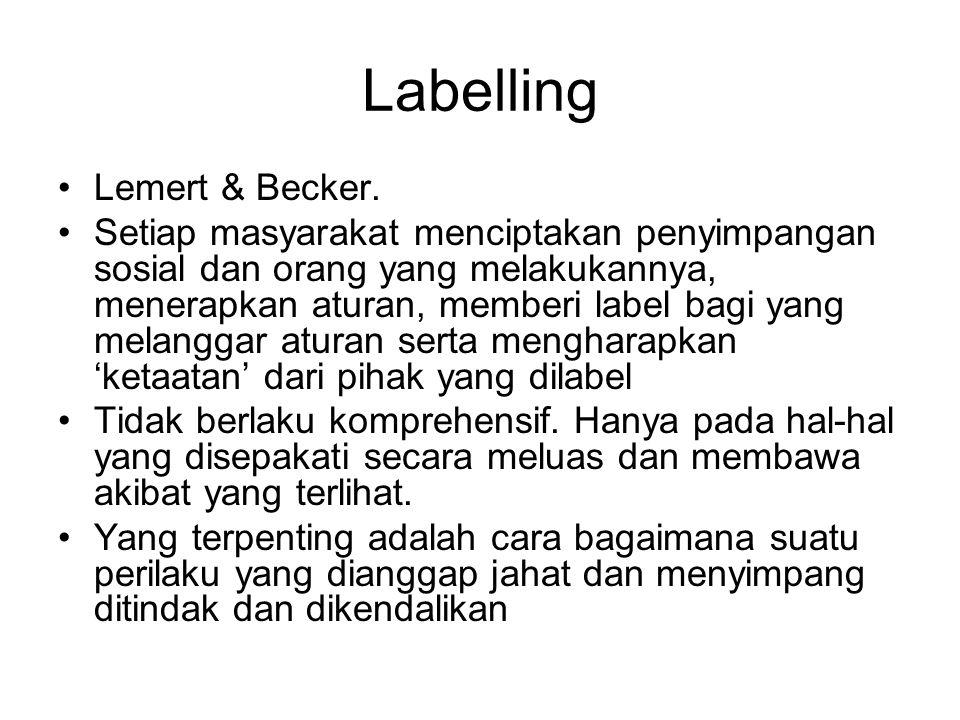 Labelling Lemert & Becker. Setiap masyarakat menciptakan penyimpangan sosial dan orang yang melakukannya, menerapkan aturan, memberi label bagi yang m