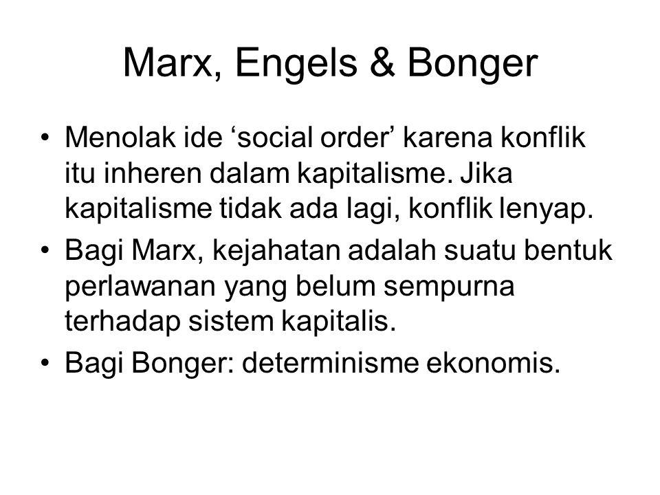 Marx, Engels & Bonger Menolak ide 'social order' karena konflik itu inheren dalam kapitalisme. Jika kapitalisme tidak ada lagi, konflik lenyap. Bagi M