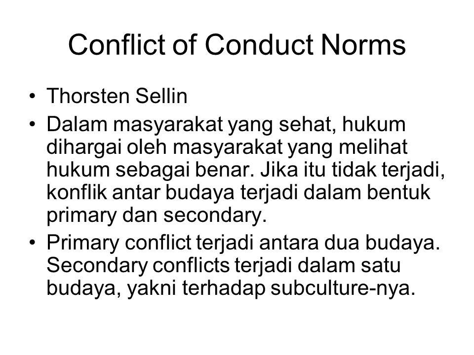 Conflict of Conduct Norms Thorsten Sellin Dalam masyarakat yang sehat, hukum dihargai oleh masyarakat yang melihat hukum sebagai benar. Jika itu tidak