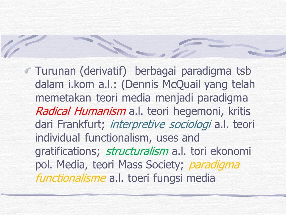 Turunan (derivatif) berbagai paradigma tsb dalam i.kom a.l.: (Dennis McQuail yang telah memetakan teori media menjadi paradigma Radical Humanism a.l.