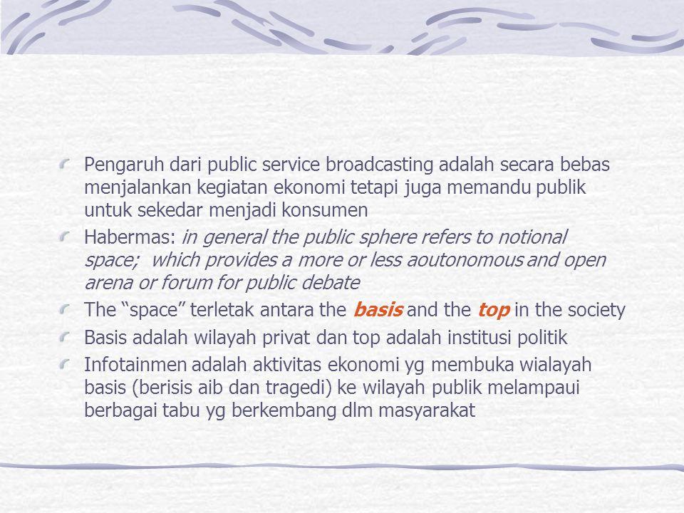 Pengaruh dari public service broadcasting adalah secara bebas menjalankan kegiatan ekonomi tetapi juga memandu publik untuk sekedar menjadi konsumen H