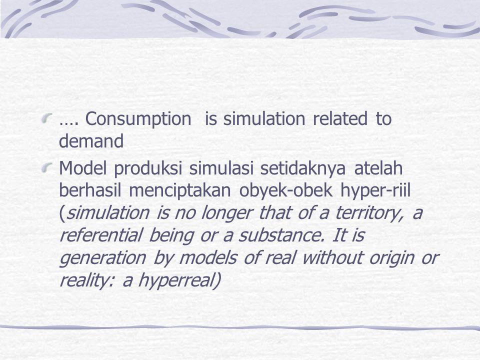 …. Consumption is simulation related to demand Model produksi simulasi setidaknya atelah berhasil menciptakan obyek-obek hyper-riil (simulation is no