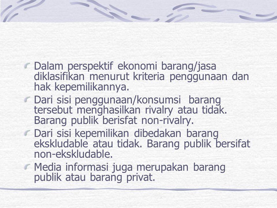 Dalam perspektif ekonomi barang/jasa diklasifikan menurut kriteria penggunaan dan hak kepemilikannya. Dari sisi penggunaan/konsumsi barang tersebut me
