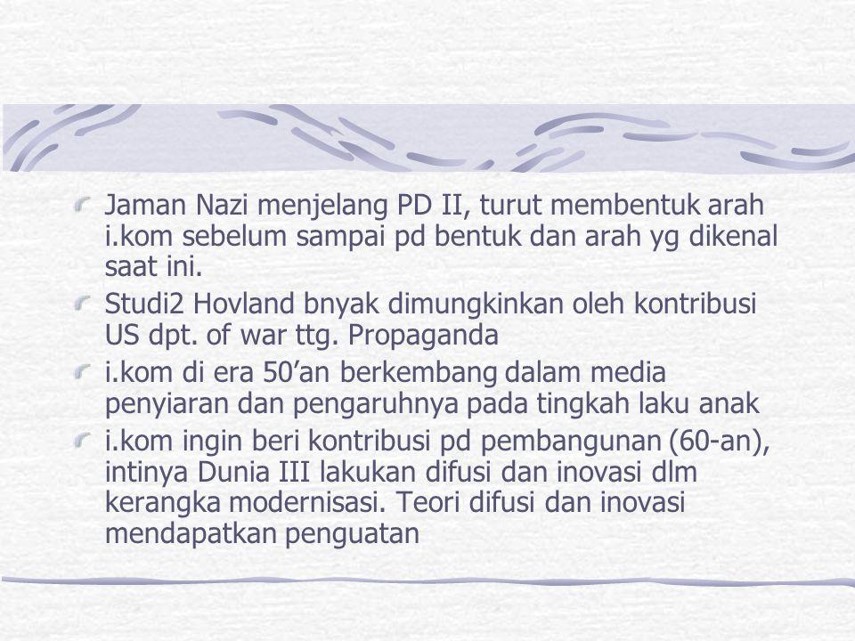 Jaman Nazi menjelang PD II, turut membentuk arah i.kom sebelum sampai pd bentuk dan arah yg dikenal saat ini. Studi2 Hovland bnyak dimungkinkan oleh k