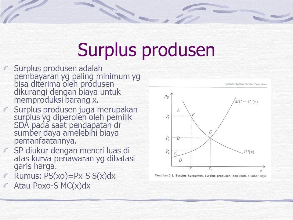 Surplus produsen Surplus produsen adalah pembayaran yg paling minimum yg bisa diterima oleh produsen dikurangi dengan biaya untuk memproduksi barang x