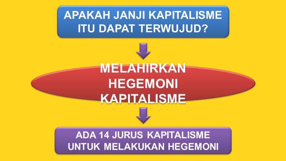 APAKAH JANJI KAPITALISME ITU DAPAT TERWUJUD? MELAHIRKAN HEGEMONI KAPITALISME ADA 14 JURUS KAPITALISME UNTUK MELAKUKAN HEGEMONI ADA 14 JURUS KAPITALISM