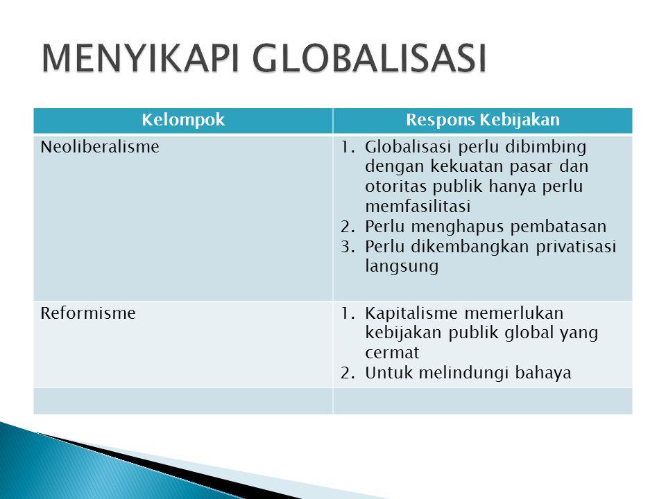 KelompokRespons Kebijakan Neoliberalisme1.Globalisasi perlu dibimbing dengan kekuatan pasar dan otoritas publik hanya perlu memfasilitasi 2.Perlu meng