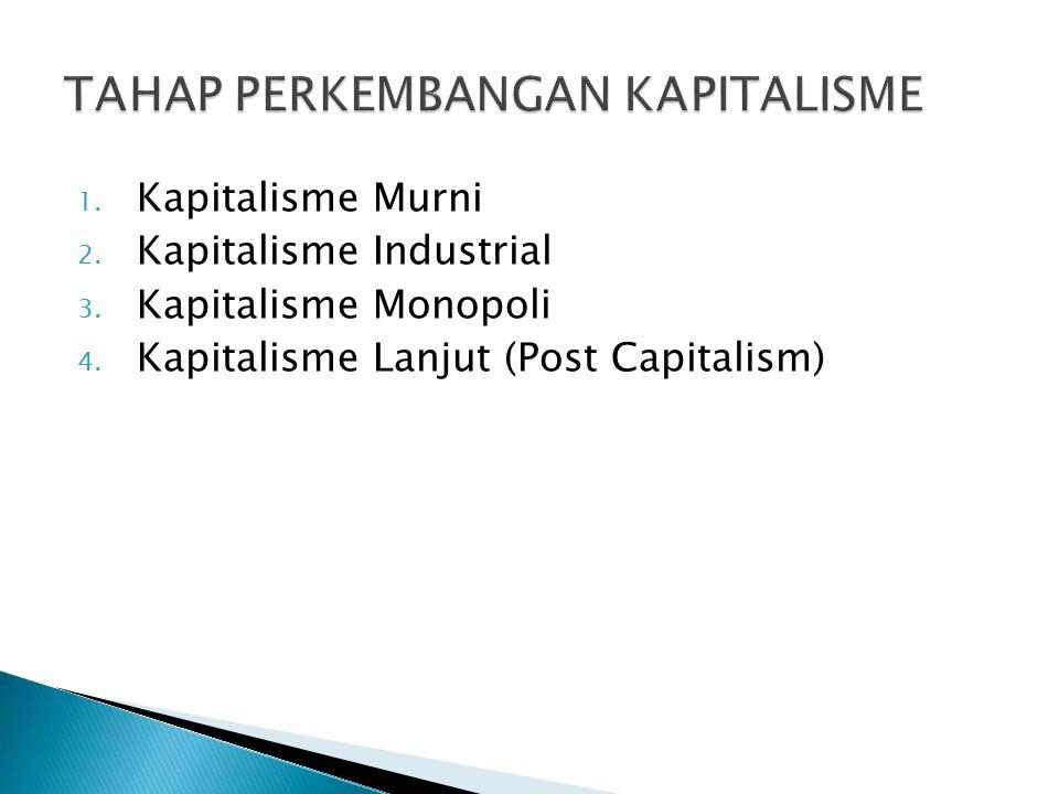 1. Kapitalisme Murni 2. Kapitalisme Industrial 3. Kapitalisme Monopoli 4. Kapitalisme Lanjut (Post Capitalism)