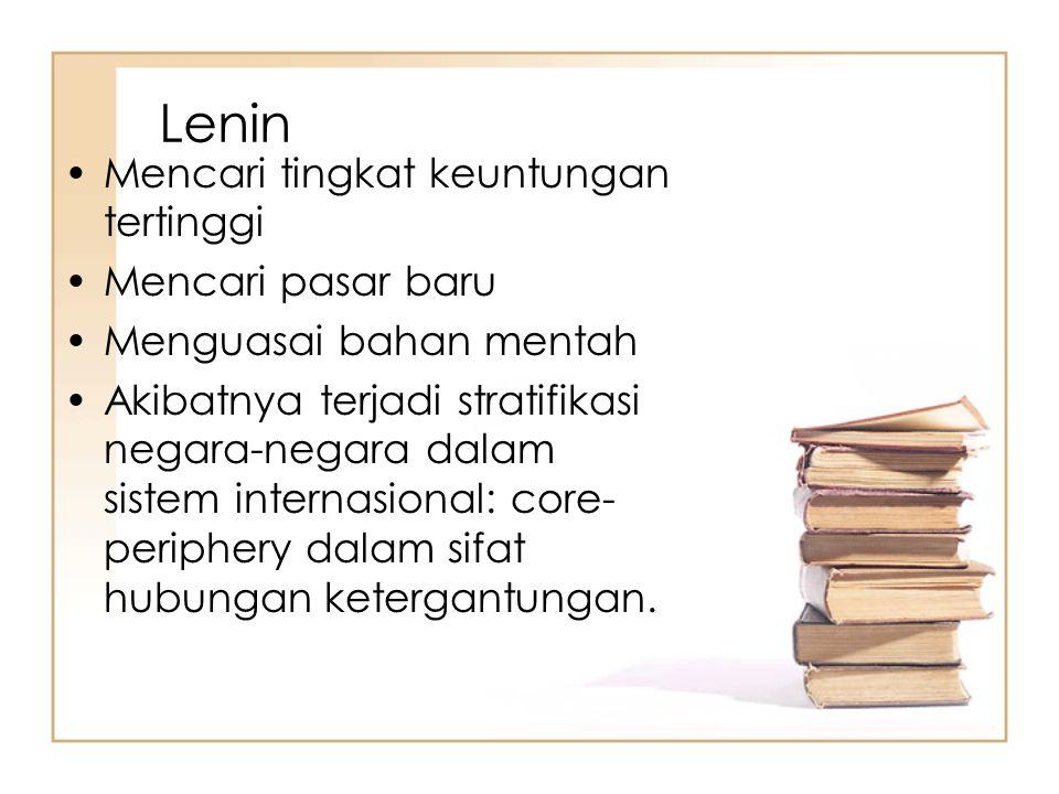 Lenin Mencari tingkat keuntungan tertinggi Mencari pasar baru Menguasai bahan mentah Akibatnya terjadi stratifikasi negara-negara dalam sistem interna
