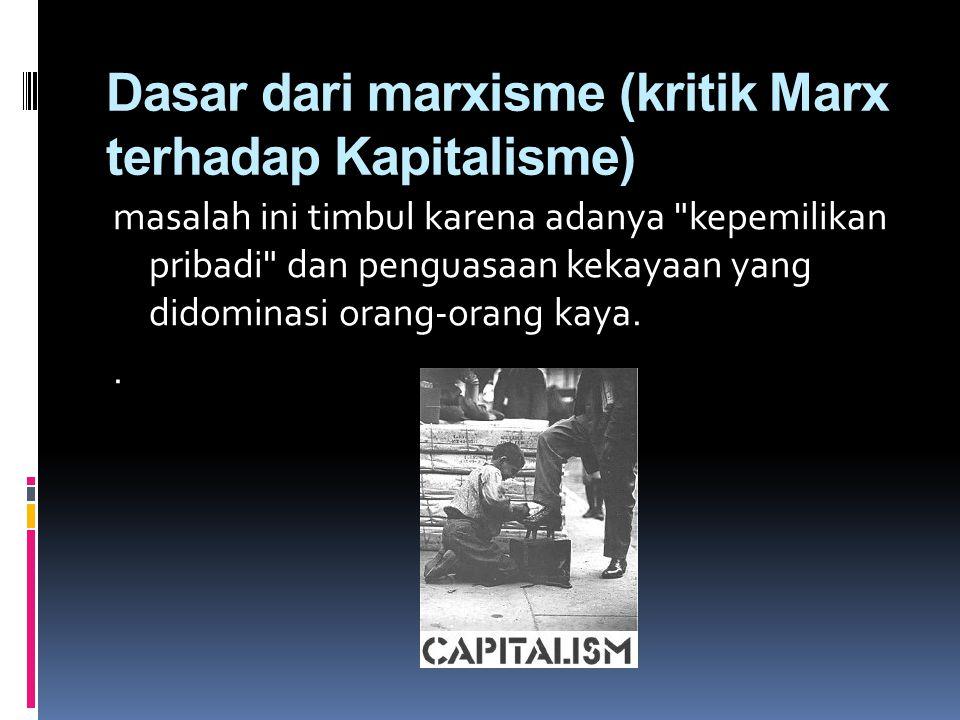 Dasar dari marxisme (kritik Marx terhadap Kapitalisme) masalah ini timbul karena adanya