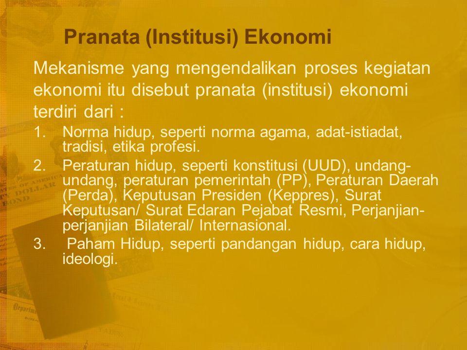 Hubungan antar Elemen Sistem Ekonomi 1.Unit-unit ekonomi, pelaku-pekaku ekonomi, SDA dan SDM saling berhubungan satu sama lain dalam suatu pola hubung
