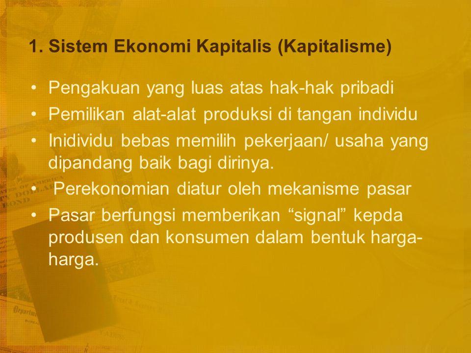 Keburukan sistem ekonomi pasar adalah : Persaingan dapat menyebabkan terjadinya penindasan dan monopoli. Karena motif memperoleh laba, tiap-tiap indiv