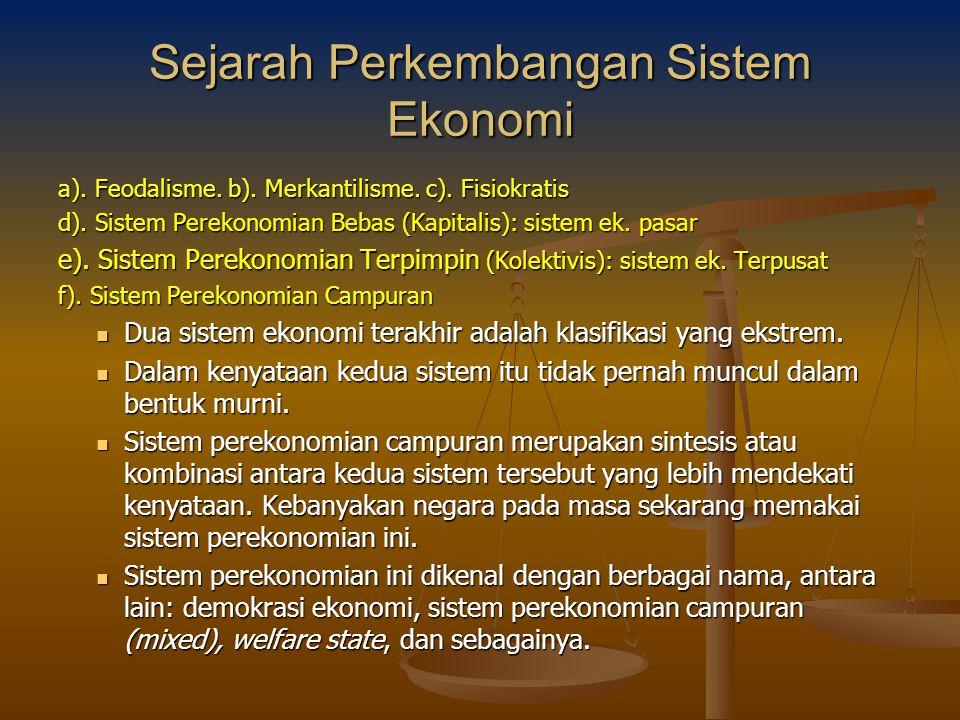 Sejarah Perkembangan Sistem Ekonomi a). Feodalisme. b). Merkantilisme. c). Fisiokratis d). Sistem Perekonomian Bebas (Kapitalis): sistem ek. pasar e).