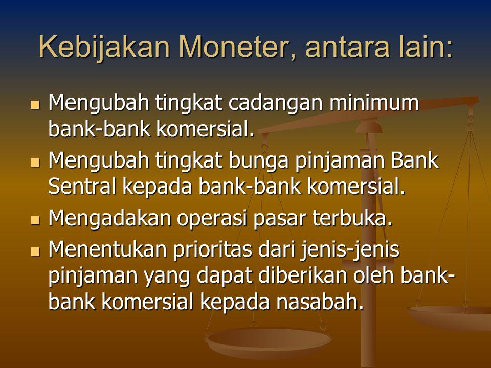Kebijakan Moneter, antara lain: Mengubah tingkat cadangan minimum bank-bank komersial. Mengubah tingkat cadangan minimum bank-bank komersial. Mengubah