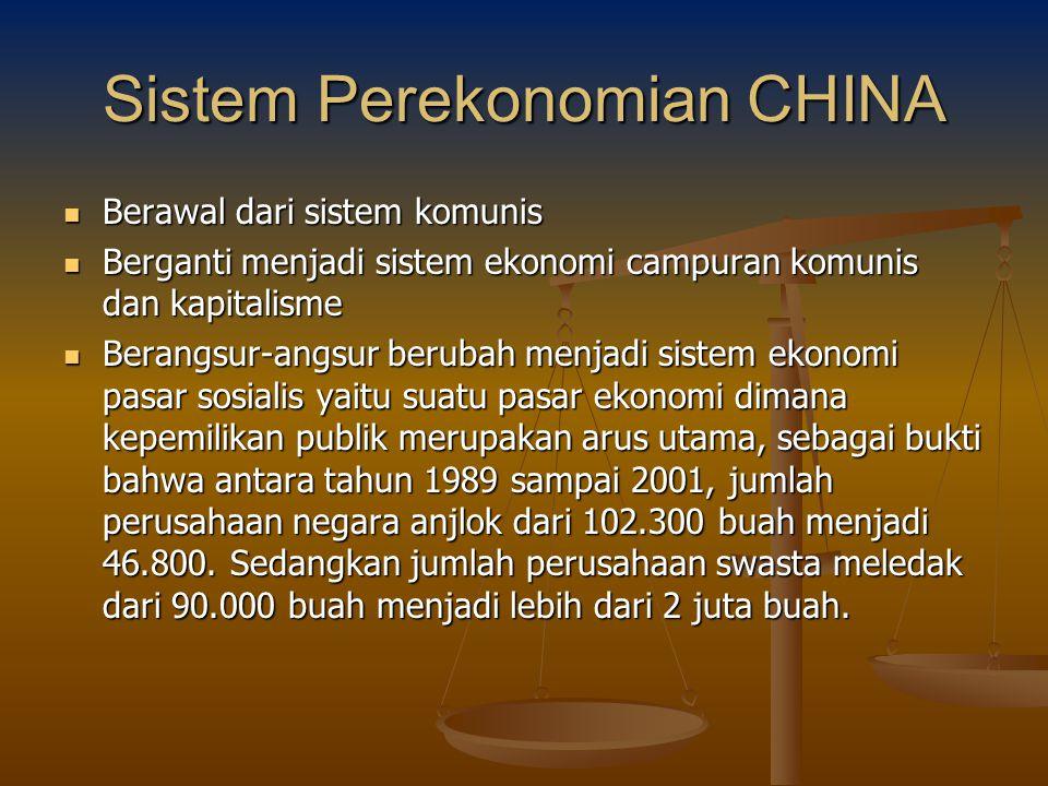 Sistem Perekonomian CHINA Berawal dari sistem komunis Berawal dari sistem komunis Berganti menjadi sistem ekonomi campuran komunis dan kapitalisme Ber