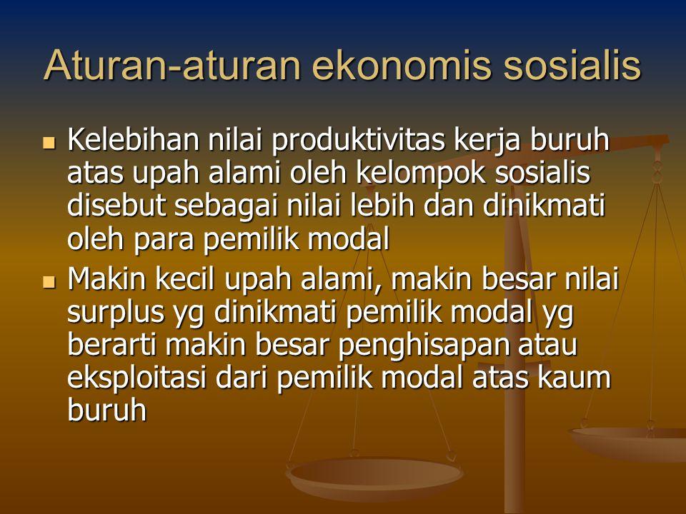Aturan-aturan ekonomis sosialis Kelebihan nilai produktivitas kerja buruh atas upah alami oleh kelompok sosialis disebut sebagai nilai lebih dan dinik