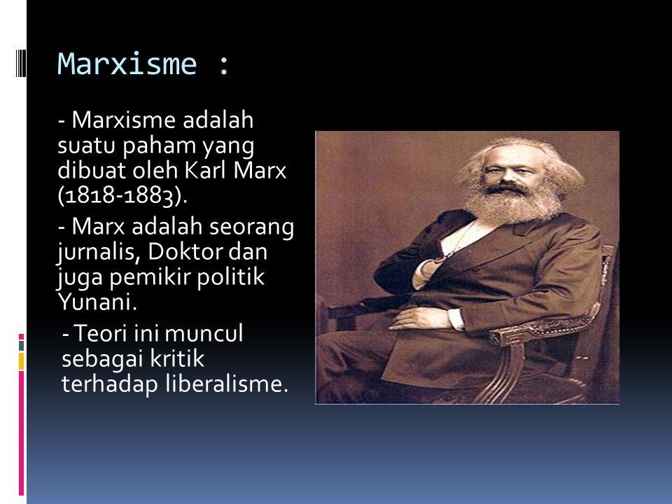 Marxisme : - Marxisme adalah suatu paham yang dibuat oleh Karl Marx (1818-1883). - Marx adalah seorang jurnalis, Doktor dan juga pemikir politik Yunan
