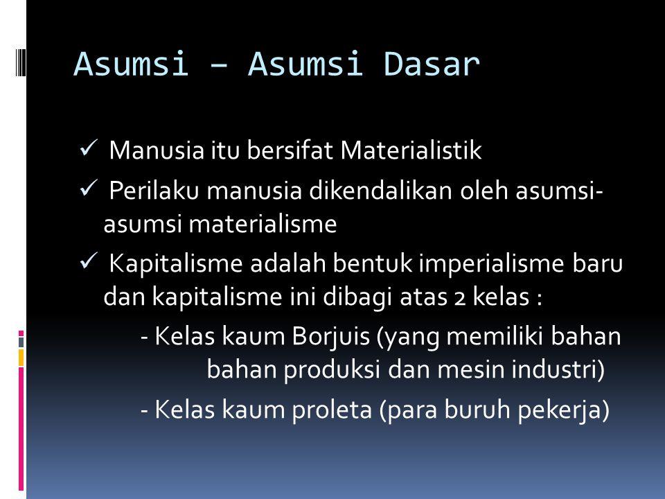 Asumsi – Asumsi Dasar Manusia itu bersifat Materialistik Perilaku manusia dikendalikan oleh asumsi- asumsi materialisme Kapitalisme adalah bentuk impe