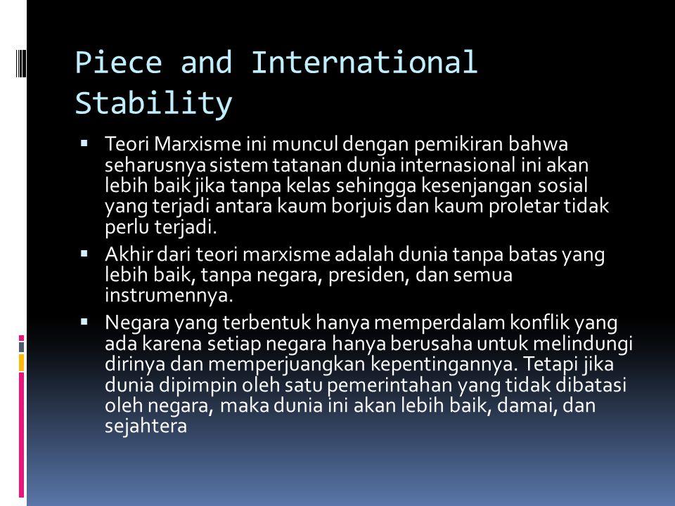Piece and International Stability  Teori Marxisme ini muncul dengan pemikiran bahwa seharusnya sistem tatanan dunia internasional ini akan lebih baik