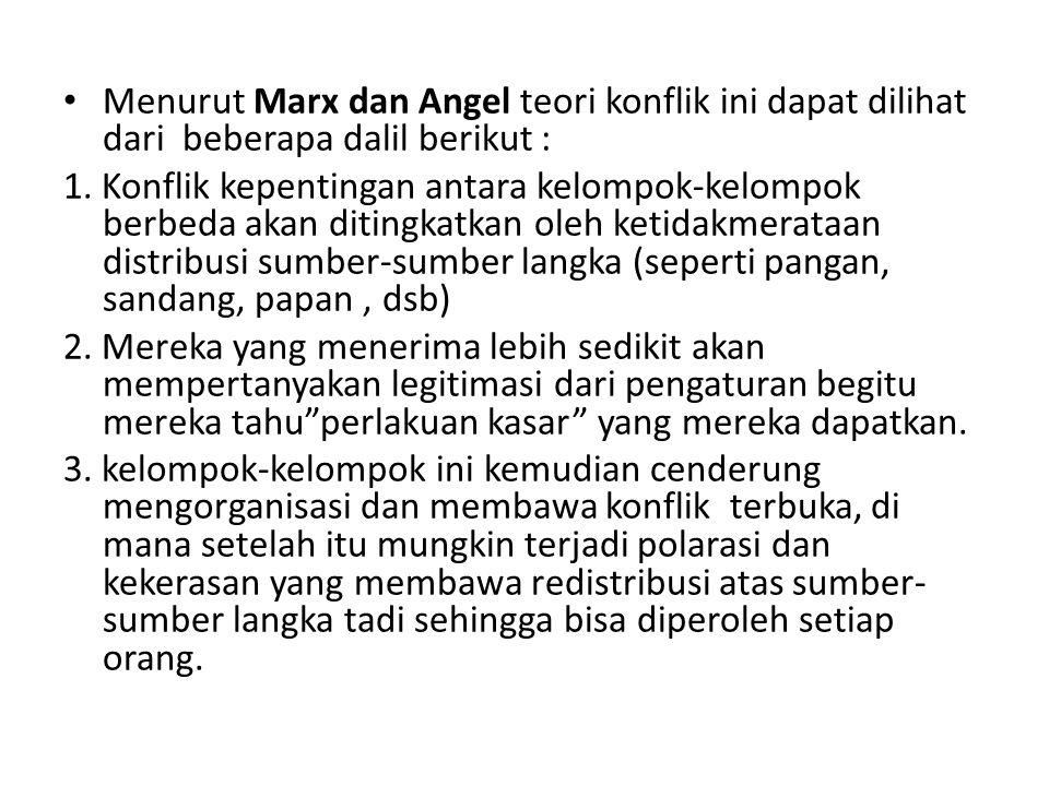 Menurut Marx dan Angel teori konflik ini dapat dilihat dari beberapa dalil berikut : 1. Konflik kepentingan antara kelompok-kelompok berbeda akan diti