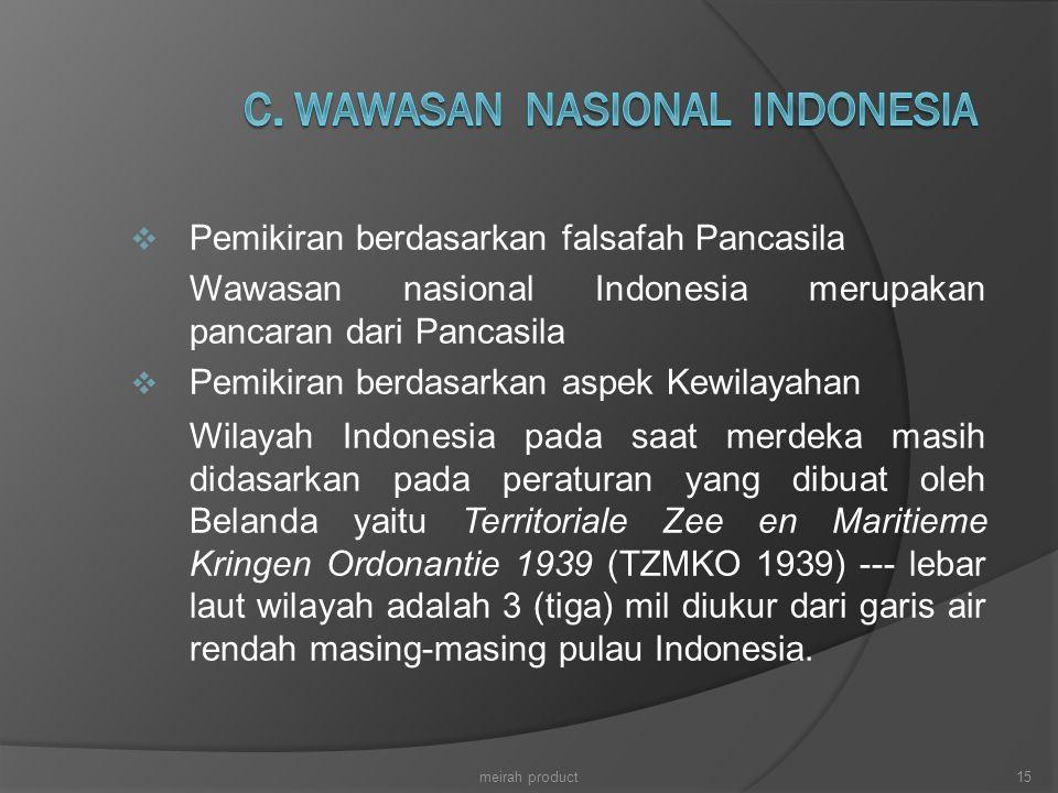  Pemikiran berdasarkan falsafah Pancasila Wawasan nasional Indonesia merupakan pancaran dari Pancasila  Pemikiran berdasarkan aspek Kewilayahan Wila