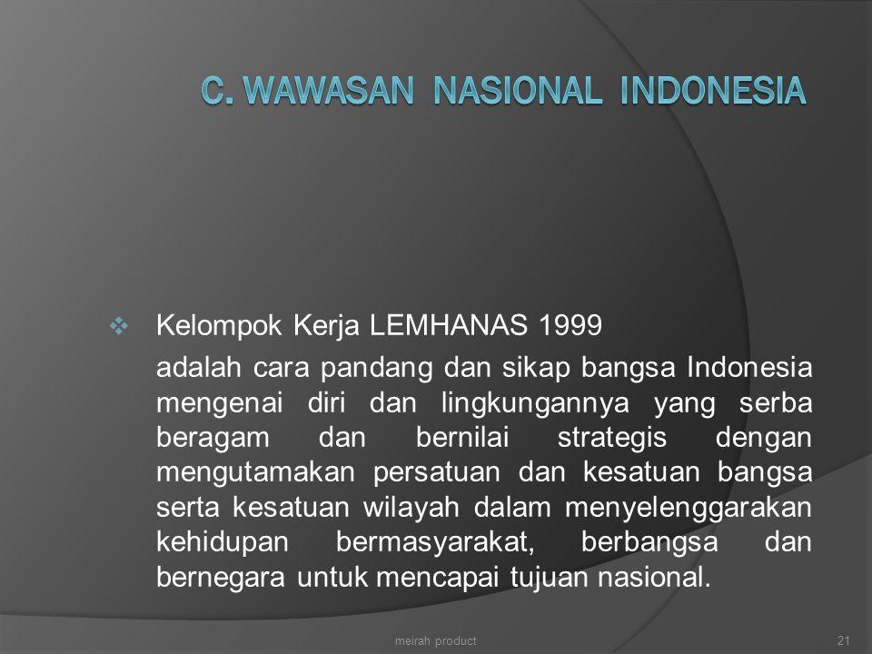  Kelompok Kerja LEMHANAS 1999 adalah cara pandang dan sikap bangsa Indonesia mengenai diri dan lingkungannya yang serba beragam dan bernilai strategi