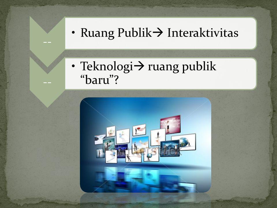 """-- Ruang Publik  Interaktivitas -- Teknologi  ruang publik """"baru""""?"""