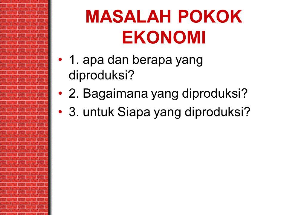 MASALAH POKOK EKONOMI 1. apa dan berapa yang diproduksi? 2. Bagaimana yang diproduksi? 3. untuk Siapa yang diproduksi?