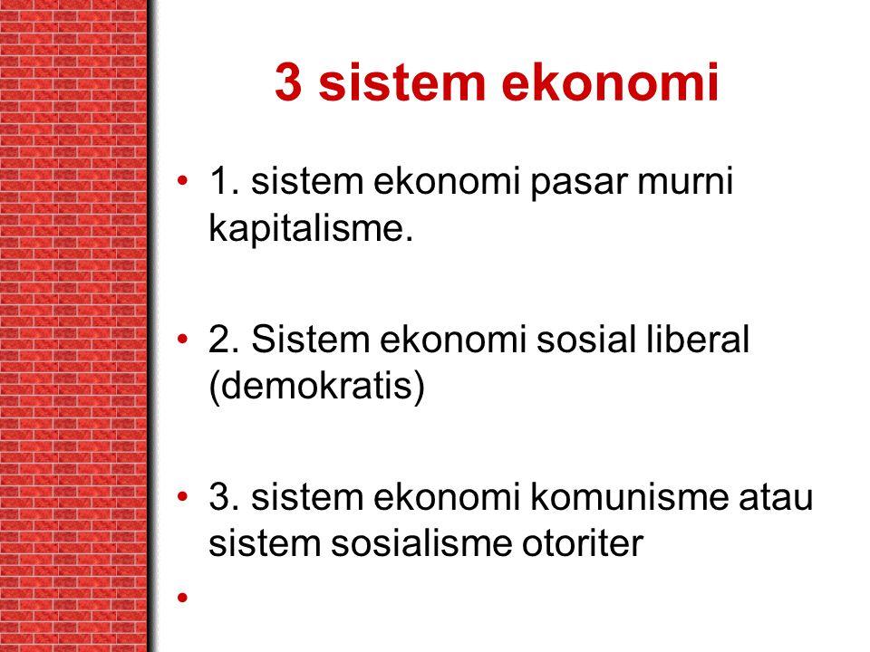 3 sistem ekonomi 1. sistem ekonomi pasar murni kapitalisme. 2. Sistem ekonomi sosial liberal (demokratis) 3. sistem ekonomi komunisme atau sistem sosi