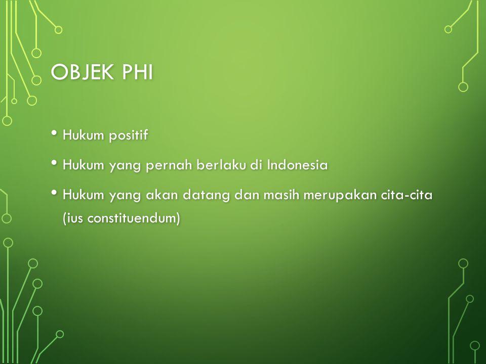 OBJEK PHI Hukum positif Hukum positif Hukum yang pernah berlaku di Indonesia Hukum yang pernah berlaku di Indonesia Hukum yang akan datang dan masih m
