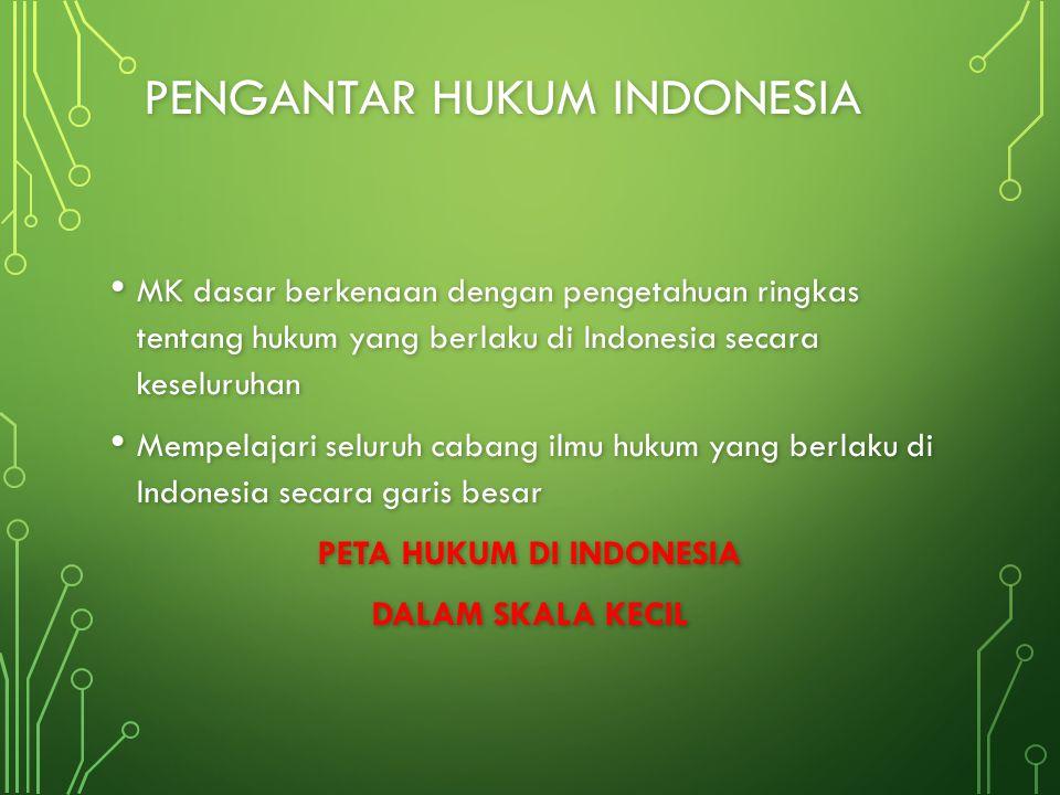 PENGANTAR HUKUM INDONESIA MK dasar berkenaan dengan pengetahuan ringkas tentang hukum yang berlaku di Indonesia secara keseluruhan MK dasar berkenaan