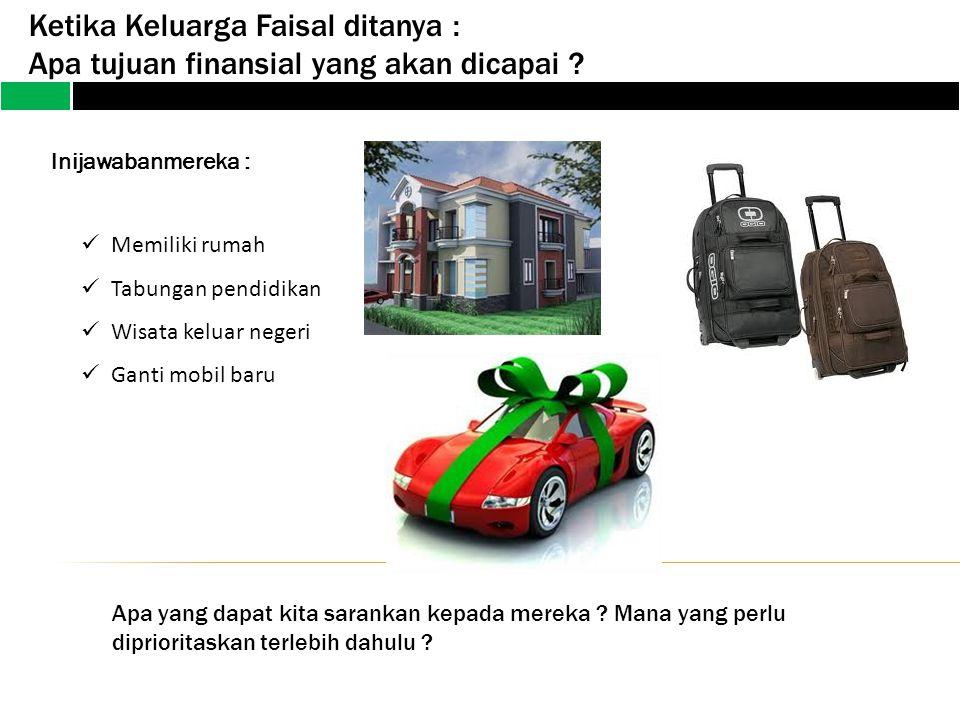 Ketika Keluarga Faisal ditanya : Apa tujuan finansial yang akan dicapai ? lnijawabanmereka : Memiliki rumah Tabungan pendidikan Wisata keluar negeri G