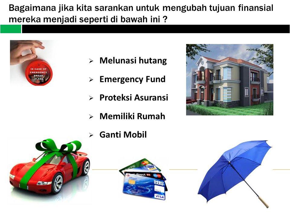 Bagaimana jika kita sarankan untuk mengubah tujuan finansial mereka menjadi seperti di bawah ini ?  Melunasi hutang  Emergency Fund  Proteksi Asura