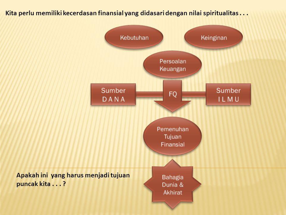 Kita perlu memiliki kecerdasan finansial yang didasari dengan nilai spiritualitas... Apakah ini yang harus menjadi tujuan puncak kita... ?