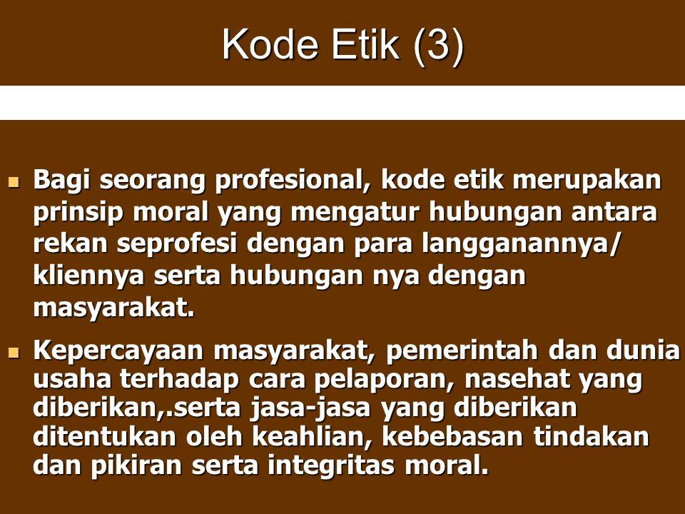 Kode Etik (3) Bagi seorang profesional, kode etik merupakan prinsip moral yang mengatur hubungan antara rekan seprofesi dengan para langganannya/ klie
