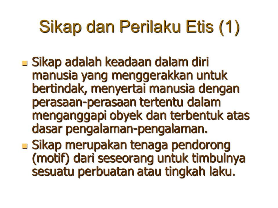Sikap dan Perilaku Etis (1) Sikap adalah keadaan dalam diri manusia yang menggerakkan untuk bertindak, menyertai manusia dengan perasaan-perasaan tert