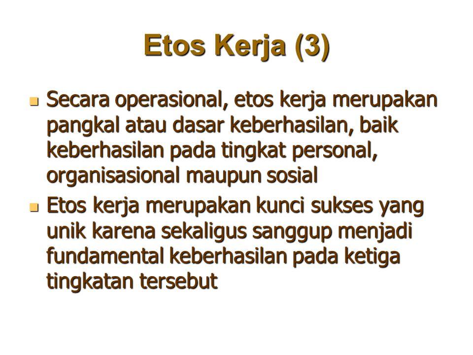 Etos Kerja (3) Secara operasional, etos kerja merupakan pangkal atau dasar keberhasilan, baik keberhasilan pada tingkat personal, organisasional maupu