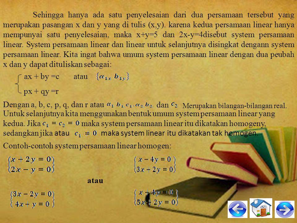 A.Persamaan Linear Dua Variabel Persamaan linear dua variabel adalah persamaan yang tepat memiliki dua variabel dan masing-masing variabelnya berpangk