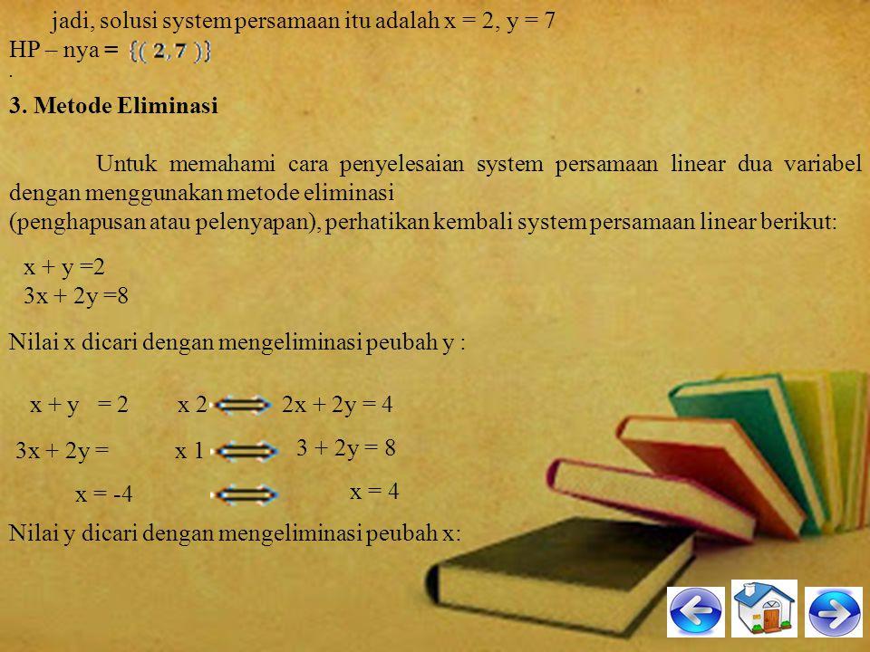 Hal ini memudahkan kita menyelesaikan persamaan simultan tersebut. Apabila kita menyelesaikan system persamaan simultan itu, y mempunyai nilai yang sa