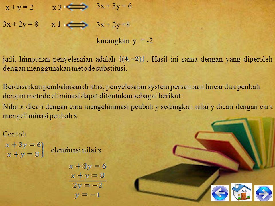 jadi, solusi system persamaan itu adalah x = 2, y = 7 HP – nya =. 3. Metode Eliminasi Untuk memahami cara penyelesaian system persamaan linear dua var