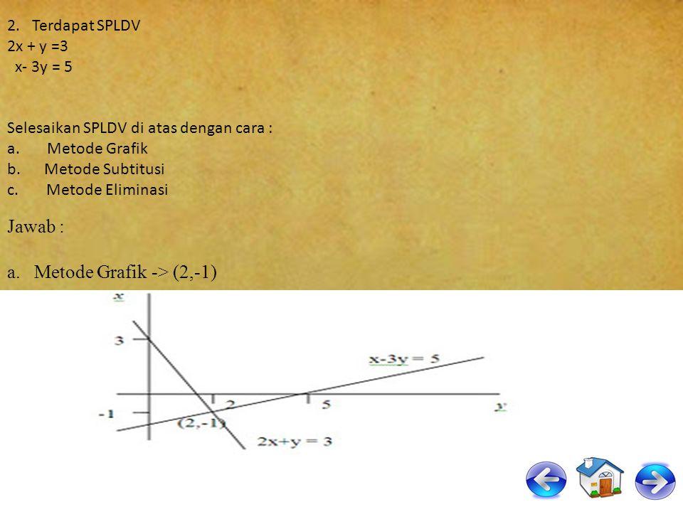 x + 4y = 14.000 x + 4 ( 2.500 ) = 14.000 x + 10.000 = 14.000 x = 14.000 – 10.000 x = 4.000 Jadi, x = harga 1 kg beras = Rp 4.000,- y = harga 1 kg miny