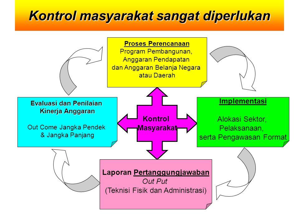 Kontrol masyarakat sangat diperlukan Kontrol Masyarakat Proses Perencanaan Program Pembangunan, Anggaran Pendapatan dan Anggaran Belanja Negara atau D